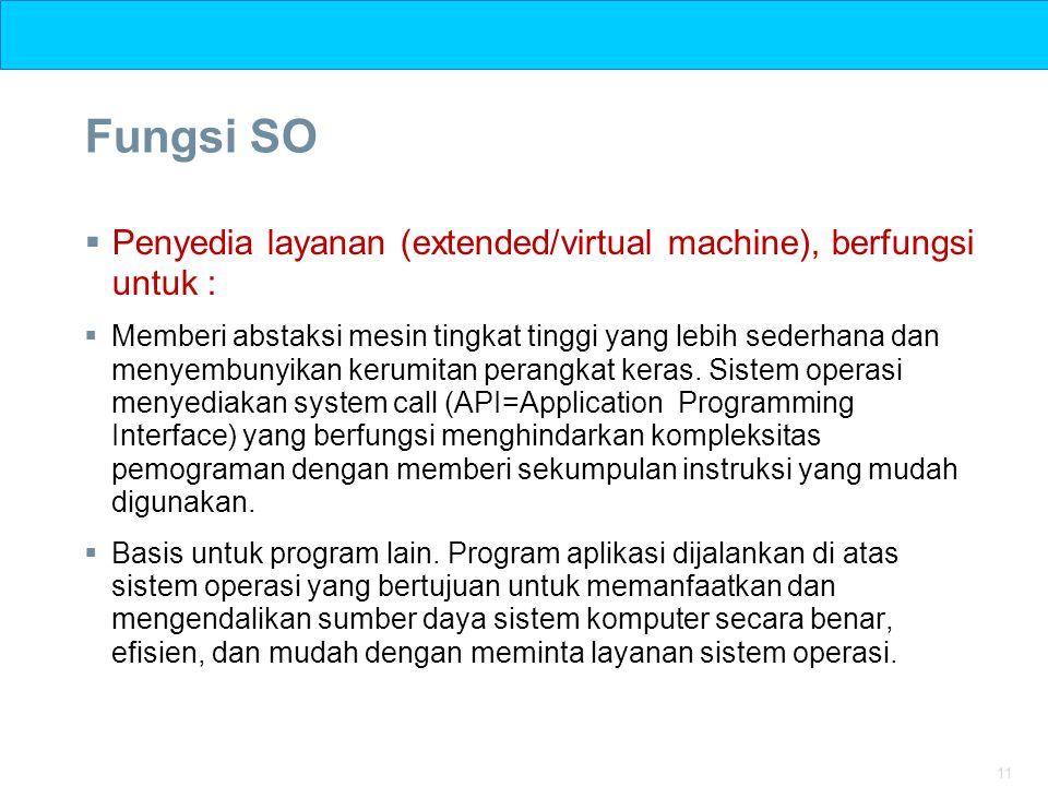 11 Fungsi SO  Penyedia layanan (extended/virtual machine), berfungsi untuk :  Memberi abstaksi mesin tingkat tinggi yang lebih sederhana dan menyemb