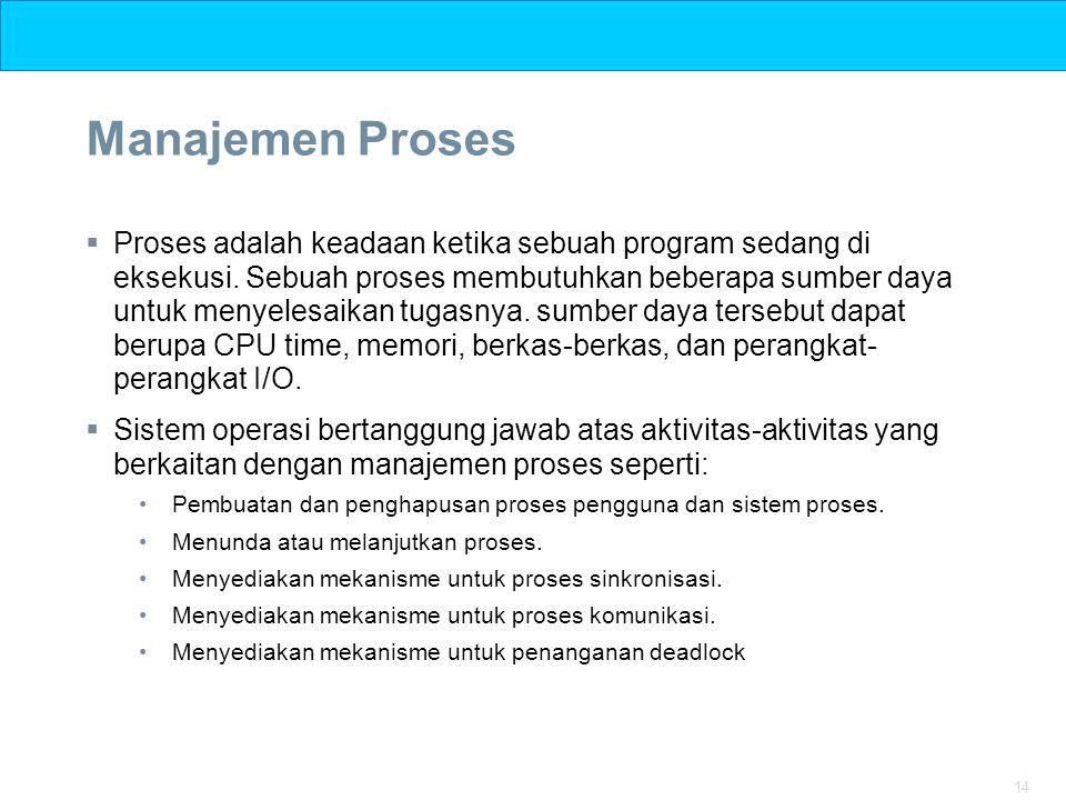 14 Manajemen Proses  Proses adalah keadaan ketika sebuah program sedang di eksekusi. Sebuah proses membutuhkan beberapa sumber daya untuk menyelesaik