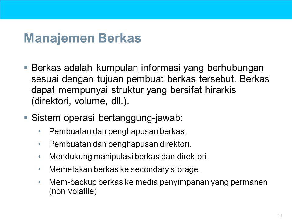 18 Manajemen Berkas  Berkas adalah kumpulan informasi yang berhubungan sesuai dengan tujuan pembuat berkas tersebut. Berkas dapat mempunyai struktur