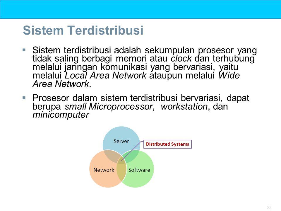 23 Sistem Terdistribusi  Sistem terdistribusi adalah sekumpulan prosesor yang tidak saling berbagi memori atau clock dan terhubung melalui jaringan k