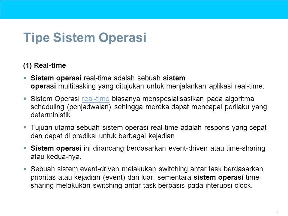 4 Tipe Sistem Operasi (1) Real-time  Sistem operasi real-time adalah sebuah sistem operasi multitasking yang ditujukan untuk menjalankan aplikasi rea
