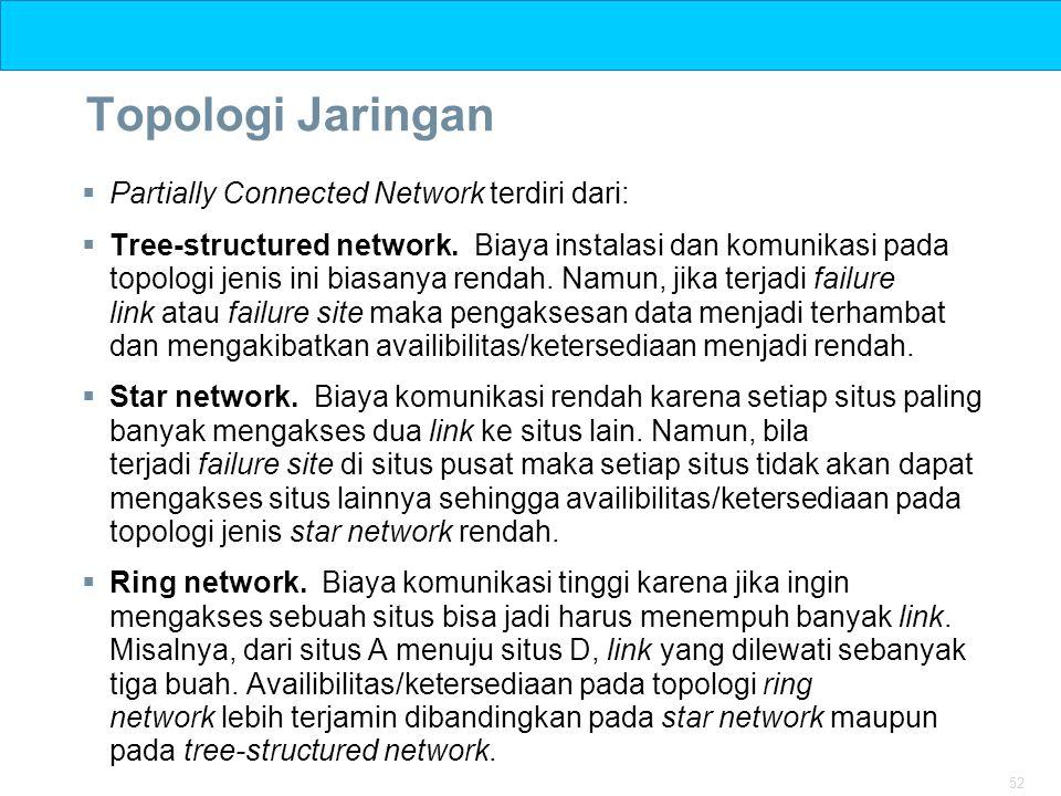 52 Topologi Jaringan  Partially Connected Network terdiri dari:  Tree-structured network. Biaya instalasi dan komunikasi pada topologi jenis ini bia