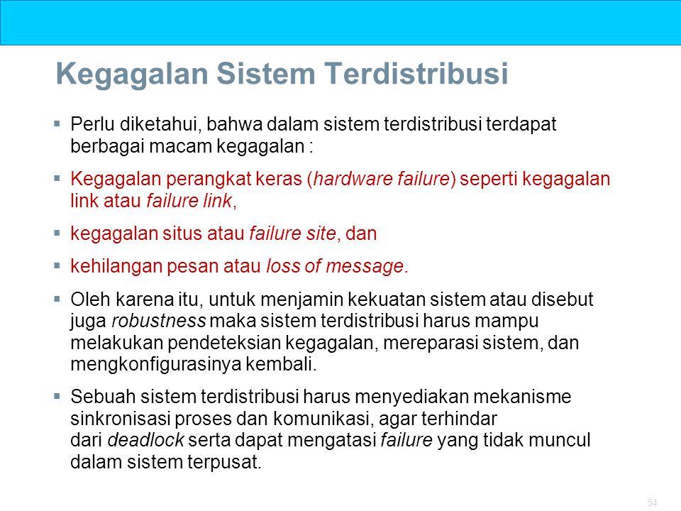 54 Kegagalan Sistem Terdistribusi  Perlu diketahui, bahwa dalam sistem terdistribusi terdapat berbagai macam kegagalan :  Kegagalan perangkat keras