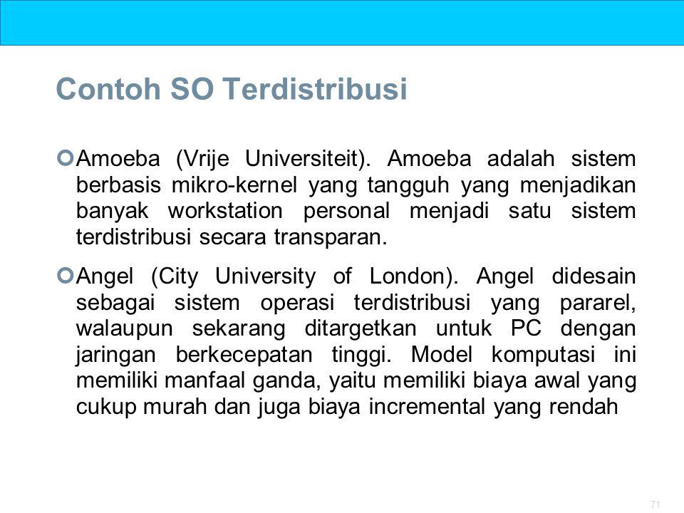 71 Contoh SO Terdistribusi Amoeba (Vrije Universiteit). Amoeba adalah sistem berbasis mikro-kernel yang tangguh yang menjadikan banyak workstation per
