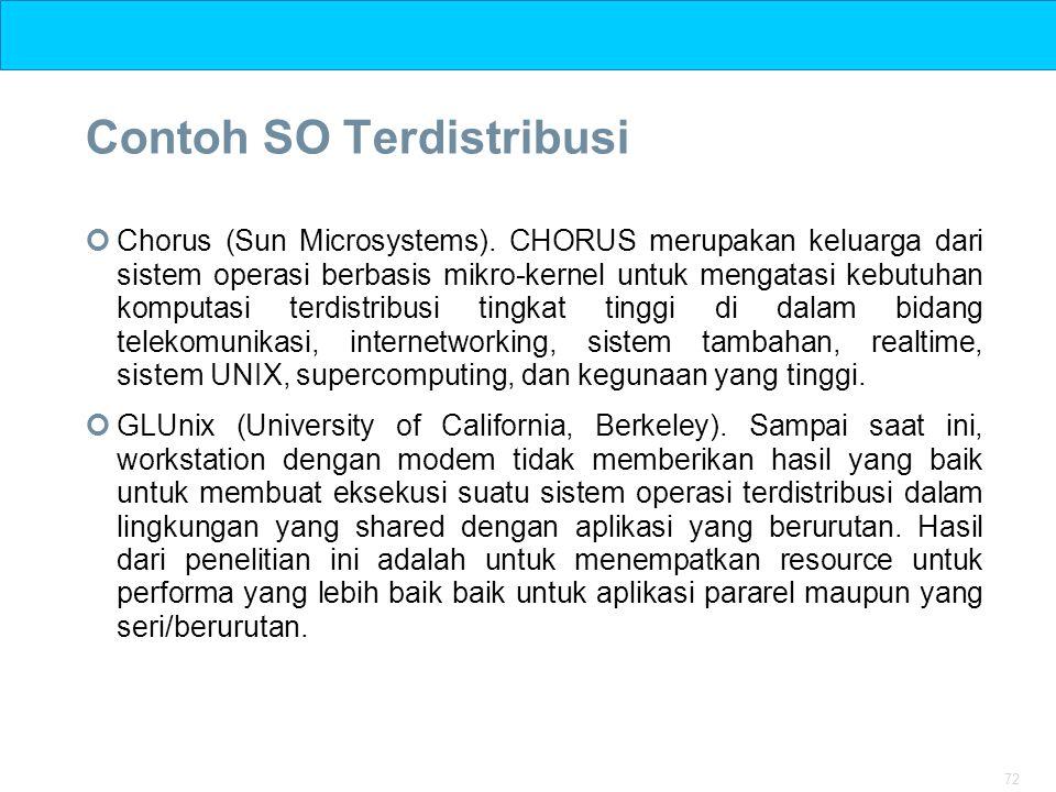 72 Contoh SO Terdistribusi Chorus (Sun Microsystems). CHORUS merupakan keluarga dari sistem operasi berbasis mikro-kernel untuk mengatasi kebutuhan ko
