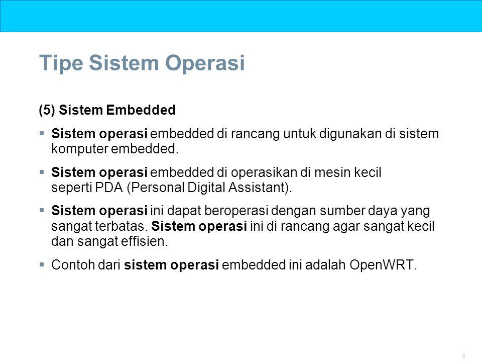 8 Tipe Sistem Operasi (5) Sistem Embedded  Sistem operasi embedded di rancang untuk digunakan di sistem komputer embedded.  Sistem operasi embedded