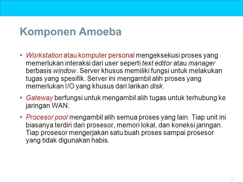 82 Komponen Amoeba  Workstation atau komputer personal mengeksekusi proses yang memerlukan interaksi dari user seperti text editor atau manager berba