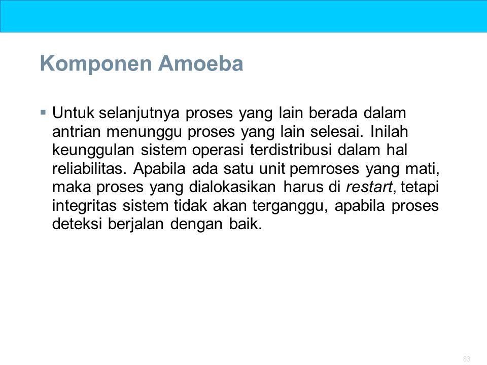 83 Komponen Amoeba  Untuk selanjutnya proses yang lain berada dalam antrian menunggu proses yang lain selesai. Inilah keunggulan sistem operasi terdi