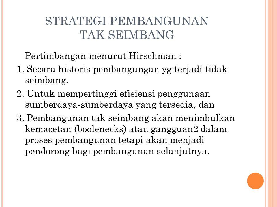 STRATEGI PEMBANGUNAN TAK SEIMBANG Pertimbangan menurut Hirschman : 1.