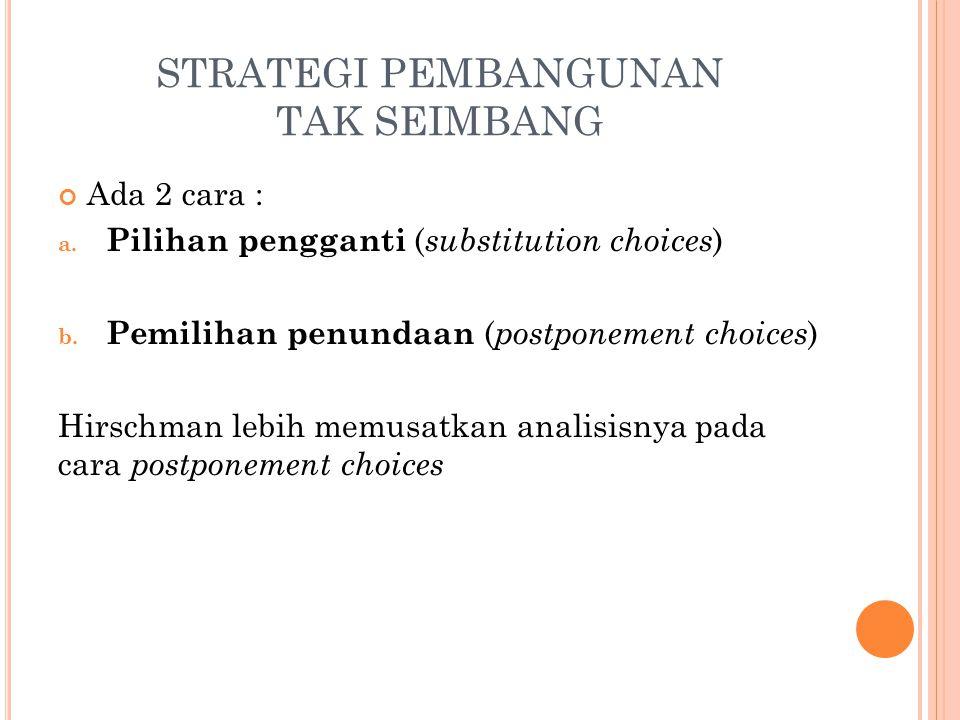 STRATEGI PEMBANGUNAN TAK SEIMBANG Ada 2 cara : a.Pilihan pengganti ( substitution choices ) b.