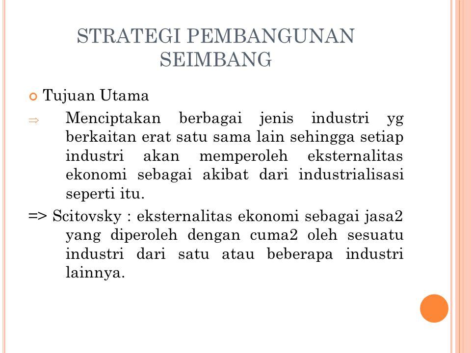 STRATEGI PEMBANGUNAN SEIMBANG Tujuan Utama  Menciptakan berbagai jenis industri yg berkaitan erat satu sama lain sehingga setiap industri akan memperoleh eksternalitas ekonomi sebagai akibat dari industrialisasi seperti itu.