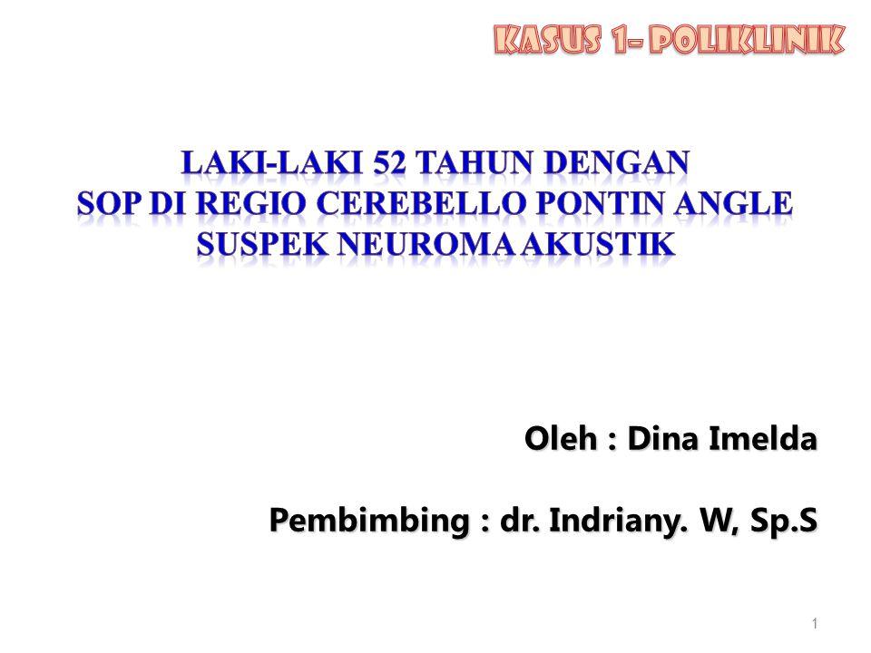 Oleh : Dina Imelda Oleh : Dina Imelda Pembimbing : dr. Indriany. W, Sp.S 1 1