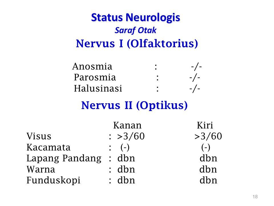 Status Neurologis Status Neurologis Saraf Otak 18 Nervus I (Olfaktorius) Anosmia: -/- Parosmia: -/- Halusinasi: -/- Nervus II (Optikus) Kanan Kiri Vis