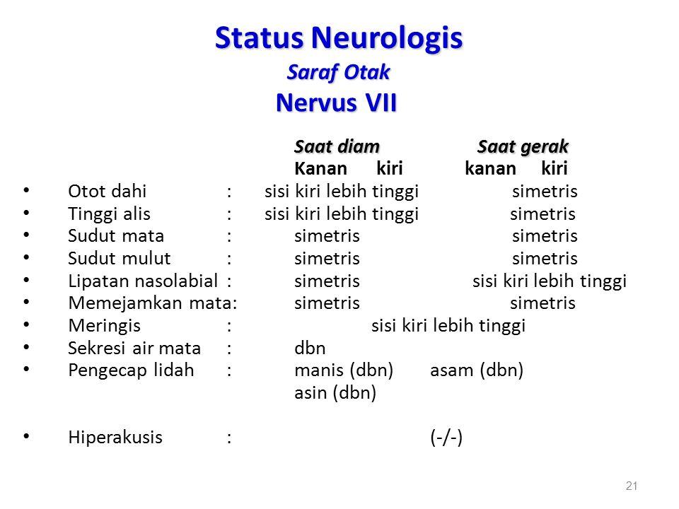 Status Neurologis Saraf Otak Nervus VII Saat diam Saat gerak Kanan kiri kanan kiri Otot dahi: sisi kiri lebih tinggi simetris Tinggi alis: sisi kiri l