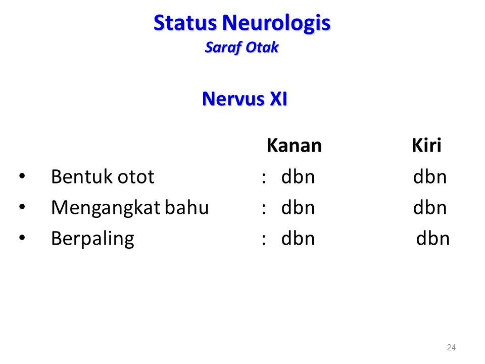 Status Neurologis Saraf Otak Nervus XI Kanan Kiri Bentuk otot: dbn dbn Mengangkat bahu : dbn dbn Berpaling: dbn dbn 24