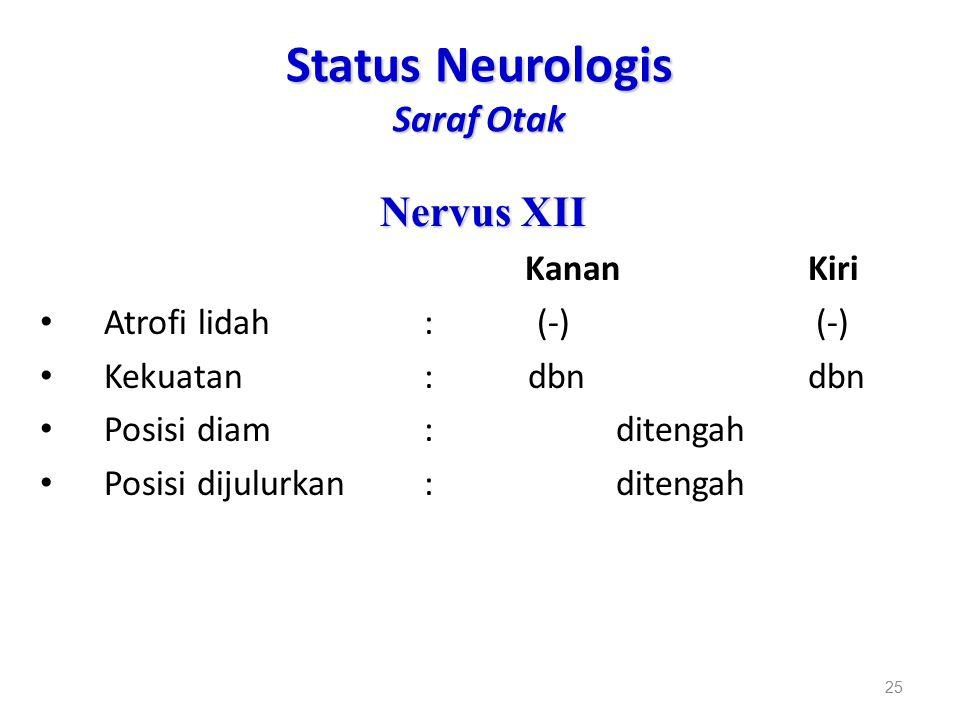 Status Neurologis Saraf Otak Nervus XII KananKiri Atrofi lidah: (-) (-) Kekuatan: dbndbn Posisi diam: ditengah Posisi dijulurkan: ditengah 25