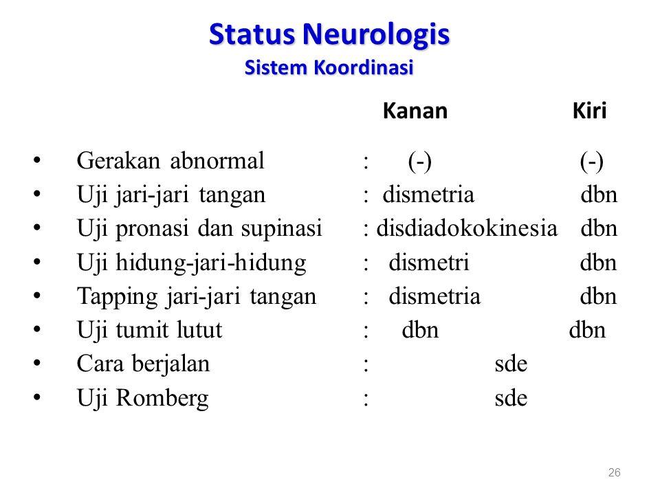 Status Neurologis Sistem Koordinasi Kanan Kiri Gerakan abnormal: (-) (-) Uji jari-jari tangan: dismetria dbn Uji pronasi dan supinasi: disdiadokokines