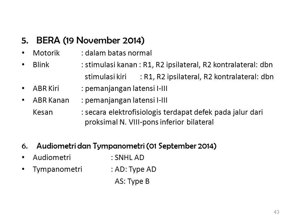5.BERA (19 November 2014) Motorik: dalam batas normal Blink: stimulasi kanan : R1, R2 ipsilateral, R2 kontralateral: dbn stimulasi kiri : R1, R2 ipsil