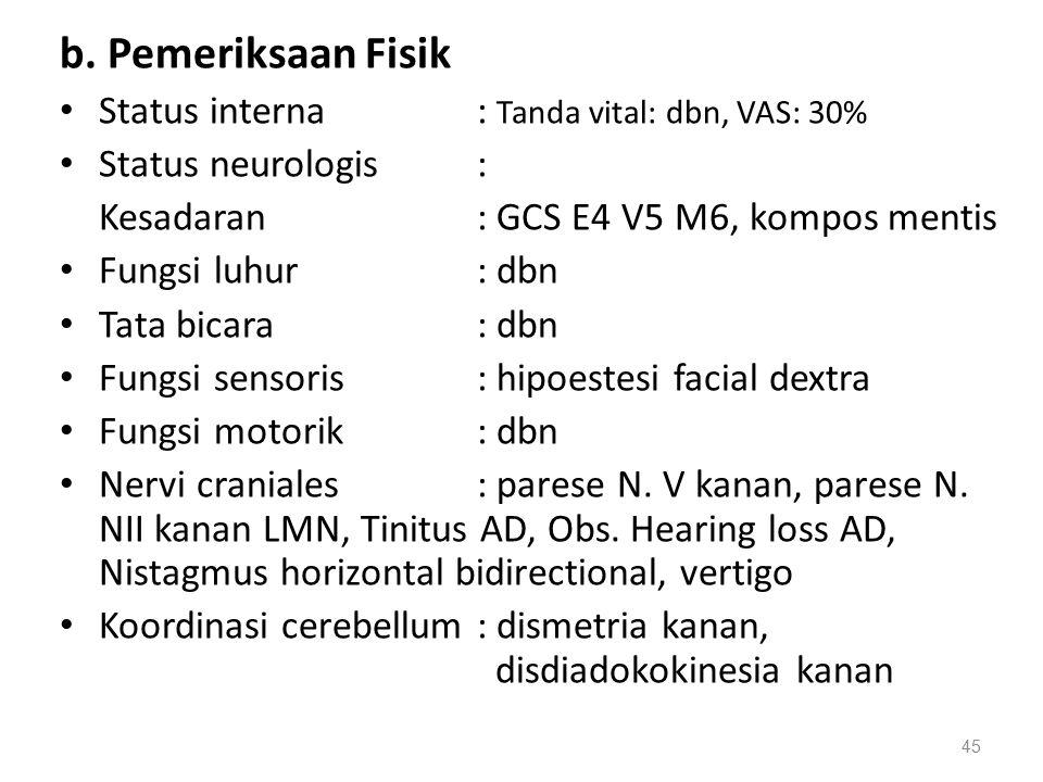b. Pemeriksaan Fisik Status interna: Tanda vital: dbn, VAS: 30% Status neurologis: Kesadaran: GCS E4 V5 M6, kompos mentis Fungsi luhur: dbn Tata bicar