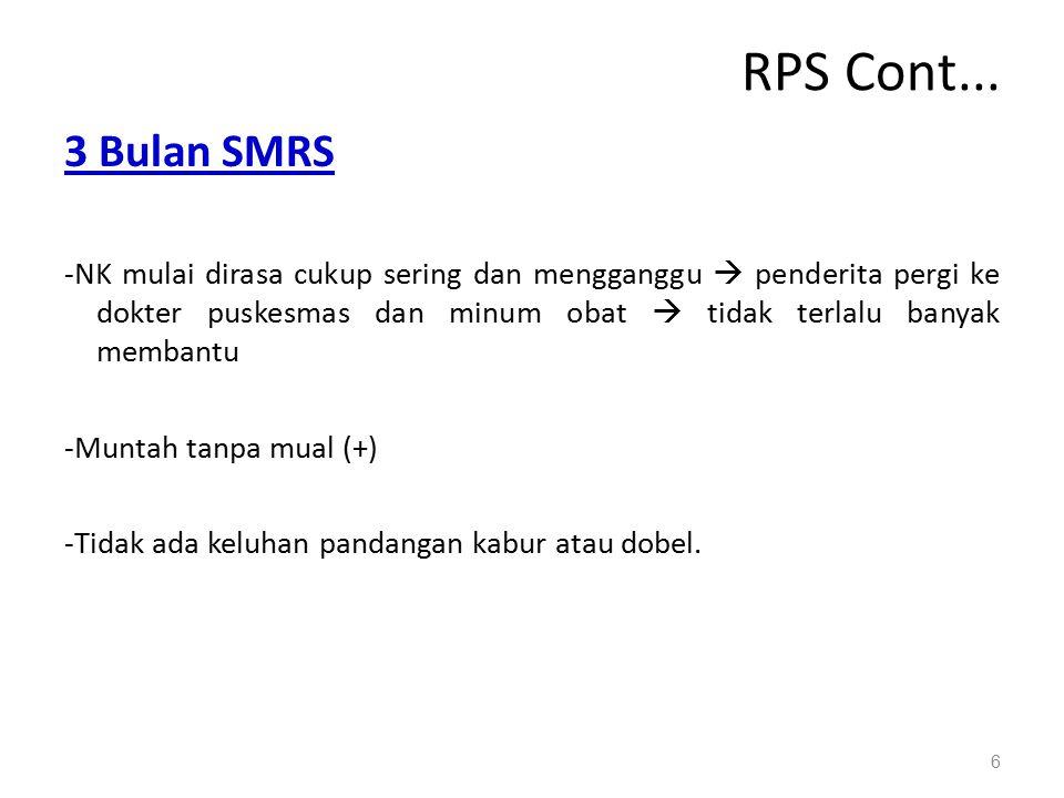 RPS Cont... 3 Bulan SMRS -NK mulai dirasa cukup sering dan mengganggu  penderita pergi ke dokter puskesmas dan minum obat  tidak terlalu banyak memb