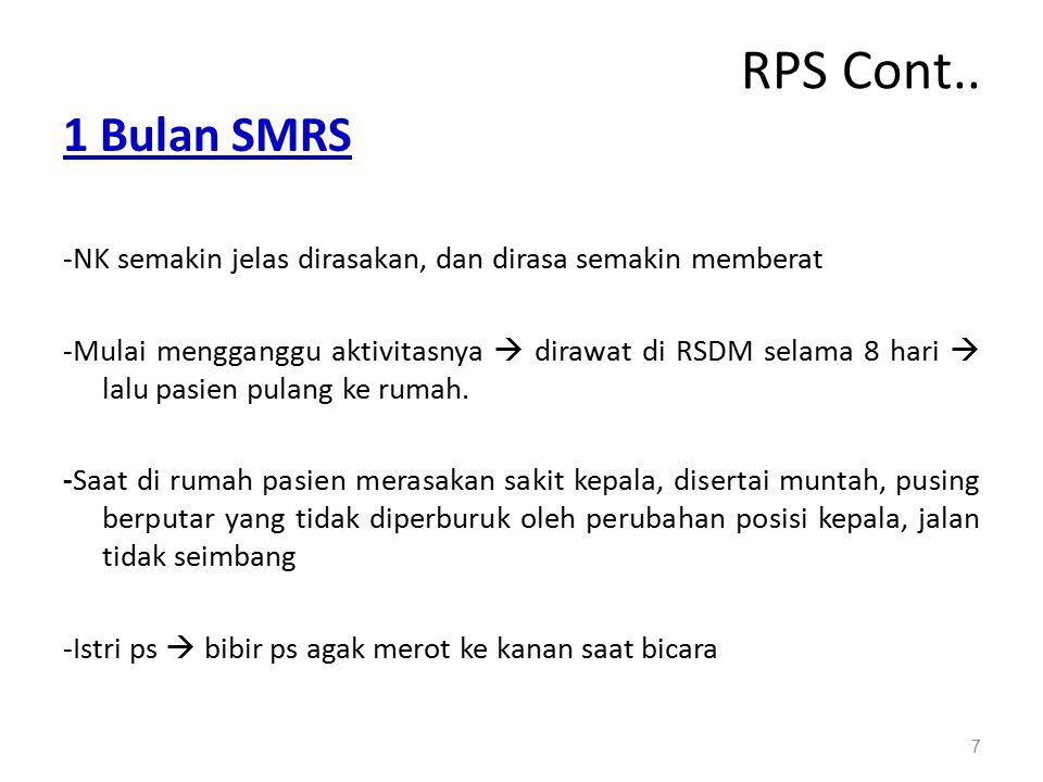 RPS Cont.. 1 Bulan SMRS -NK semakin jelas dirasakan, dan dirasa semakin memberat -Mulai mengganggu aktivitasnya  dirawat di RSDM selama 8 hari  lalu