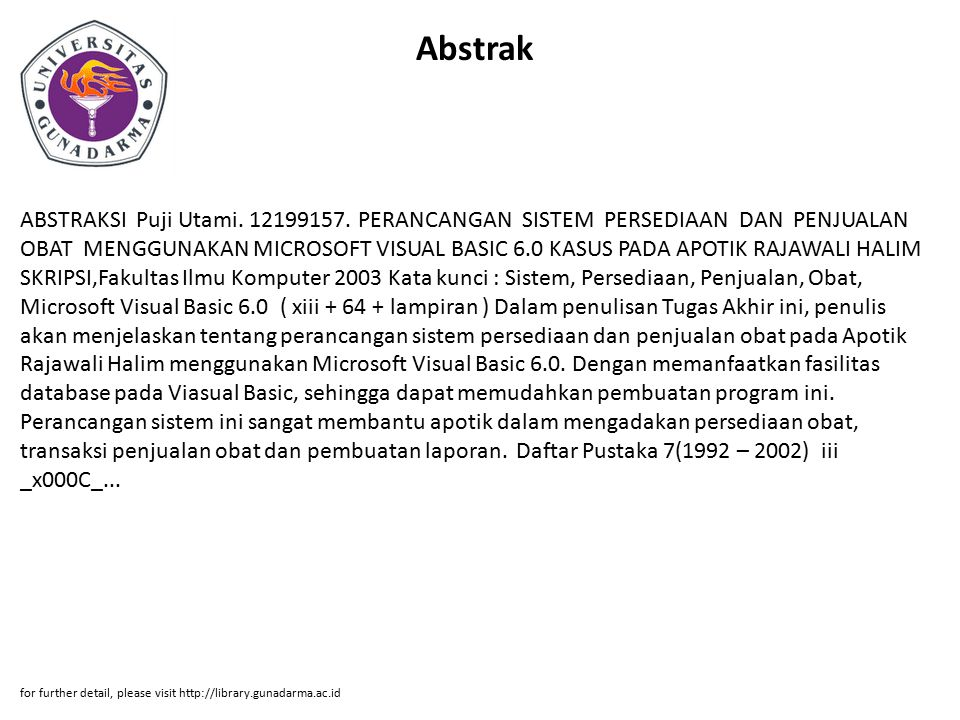 Abstrak ABSTRAKSI Puji Utami. 12199157.