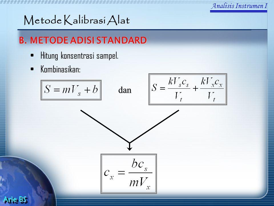 Analisis Instrumen I Arie BS Metode Kalibrasi Alat B. METODE ADISI STANDARD Hitung konsentrasi sampel. Kombinasikan: dan
