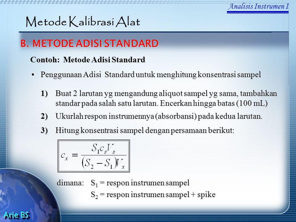 Analisis Instrumen I Arie BS Metode Kalibrasi Alat B. METODE ADISI STANDARD Contoh: Metode Adisi Standard Penggunaan Adisi Standard untuk menghitung k