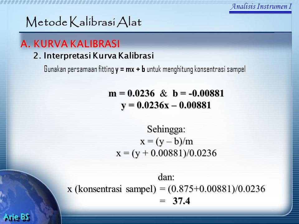 Analisis Instrumen I Arie BS Metode Kalibrasi Alat A. KURVA KALIBRASI Gunakan persamaan fitting y = mx + b untuk menghitung konsentrasi sampel 2. Inte