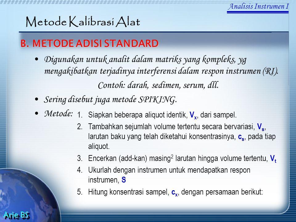 Analisis Instrumen I Arie BS Metode Kalibrasi Alat B. METODE ADISI STANDARD Digunakan untuk analit dalam matriks yang kompleks, yg mengakibatkan terja