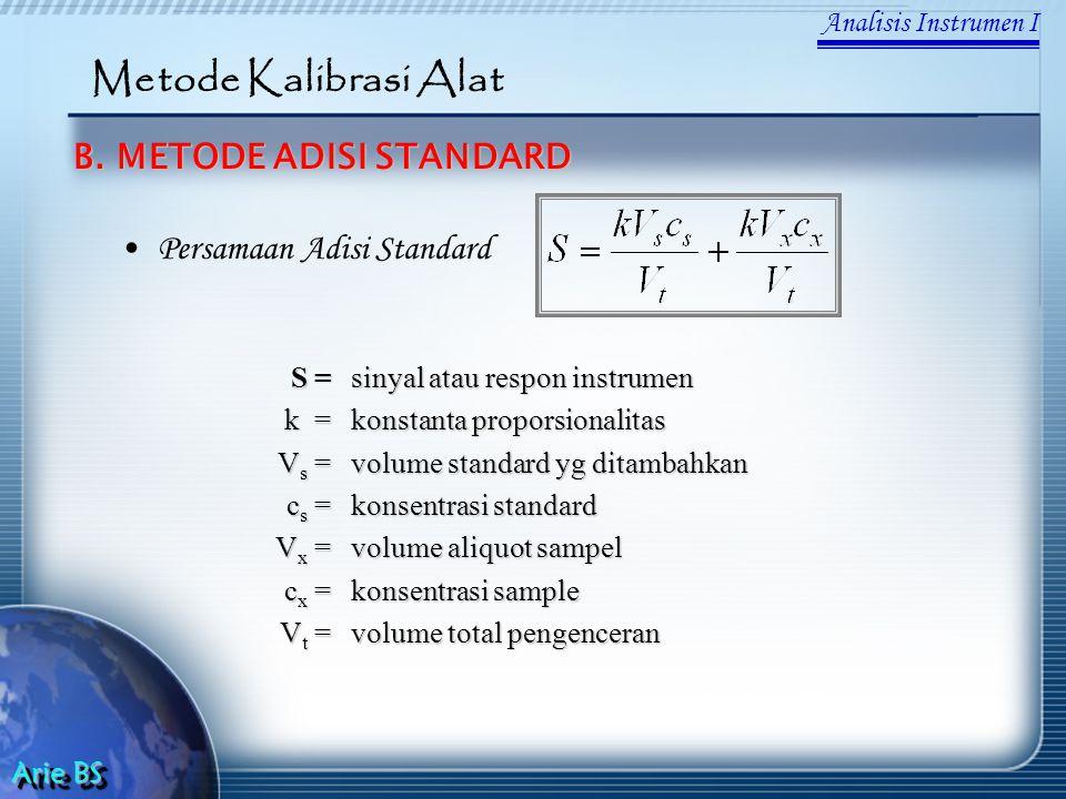 Analisis Instrumen I Arie BS Metode Kalibrasi Alat B. METODE ADISI STANDARD Persamaan Adisi Standard S =sinyal atau respon instrumen k =konstanta prop