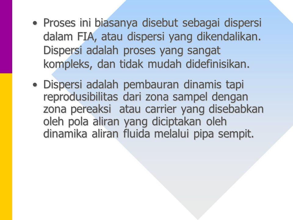 Proses ini biasanya disebut sebagai dispersi dalam FIA, atau dispersi yang dikendalikan. Dispersi adalah proses yang sangat kompleks, dan tidak mudah