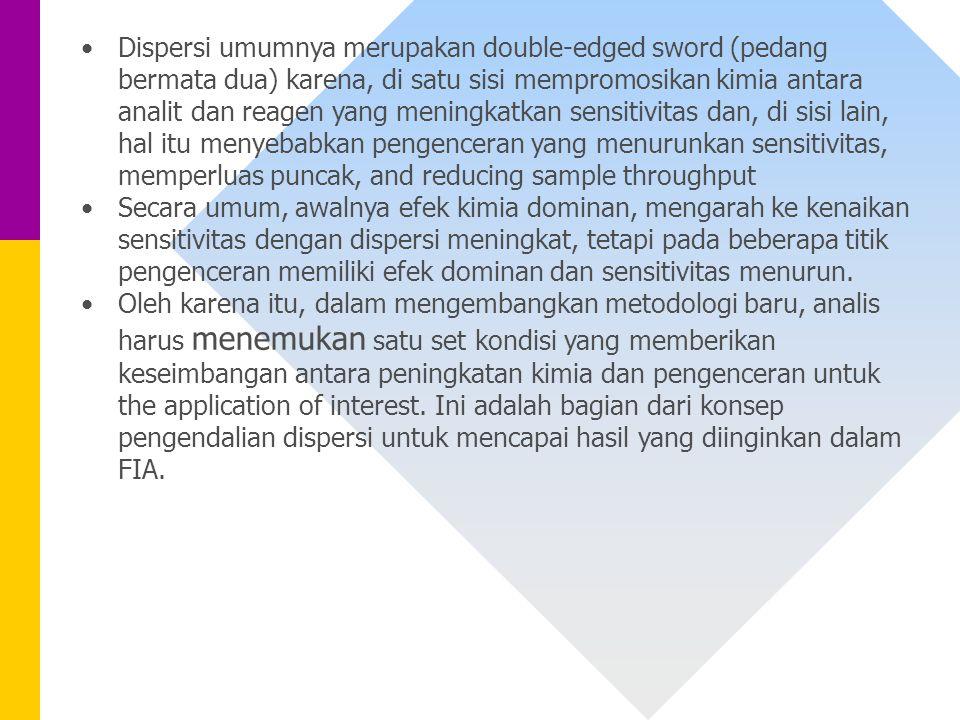 Dispersi umumnya merupakan double-edged sword (pedang bermata dua) karena, di satu sisi mempromosikan kimia antara analit dan reagen yang meningkatkan