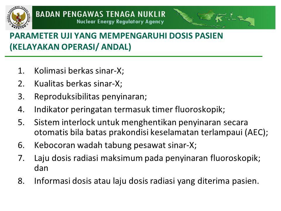 PARAMETER UJI YANG MEMPENGARUHI DOSIS PASIEN (KELAYAKAN OPERASI/ ANDAL) 1.Kolimasi berkas sinar-X; 2.Kualitas berkas sinar-X; 3.Reproduksibilitas penyinaran; 4.Indikator peringatan termasuk timer fluoroskopik; 5.Sistem interlock untuk menghentikan penyinaran secara otomatis bila batas prakondisi keselamatan terlampaui (AEC); 6.Kebocoran wadah tabung pesawat sinar-X; 7.Laju dosis radiasi maksimum pada penyinaran fluoroskopik; dan 8.Informasi dosis atau laju dosis radiasi yang diterima pasien.