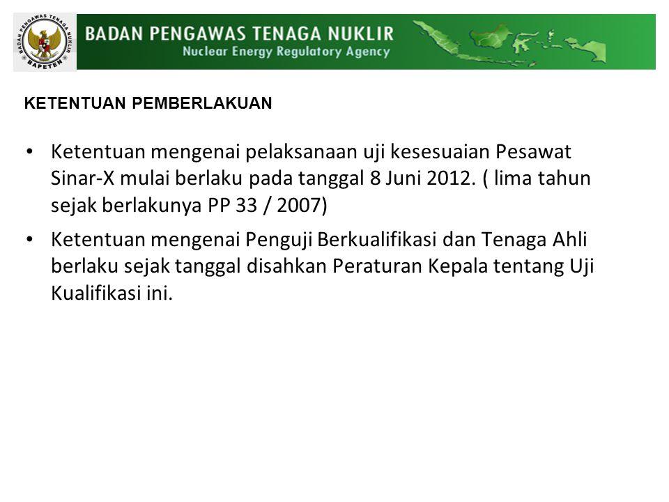 Ketentuan mengenai pelaksanaan uji kesesuaian Pesawat Sinar-X mulai berlaku pada tanggal 8 Juni 2012.