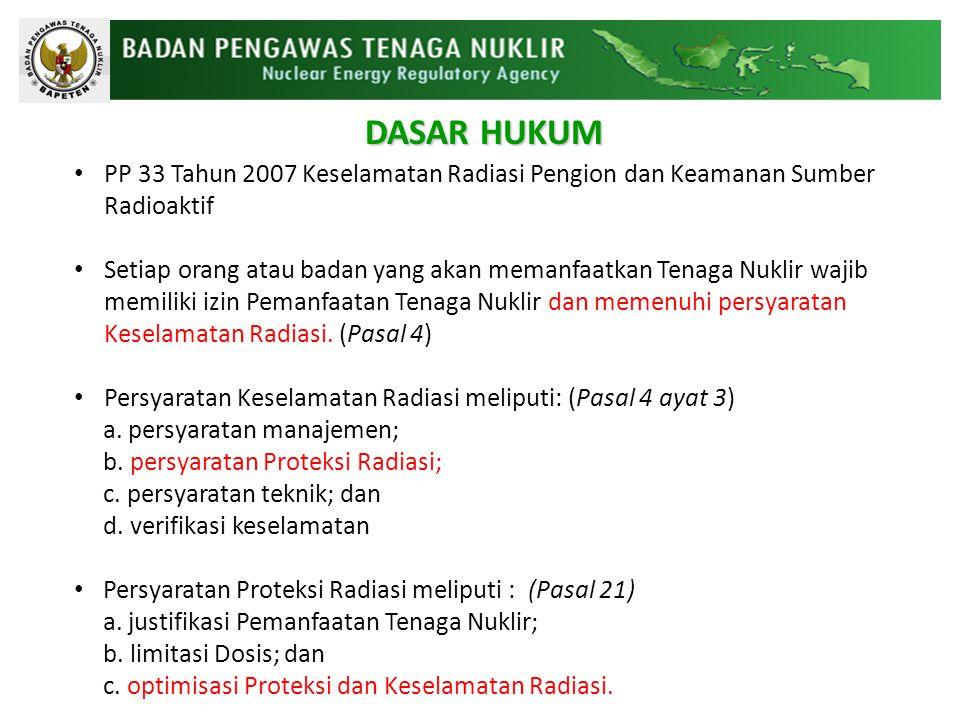 PP 33 Tahun 2007 Keselamatan Radiasi Pengion dan Keamanan Sumber Radioaktif Setiap orang atau badan yang akan memanfaatkan Tenaga Nuklir wajib memiliki izin Pemanfaatan Tenaga Nuklir dan memenuhi persyaratan Keselamatan Radiasi.