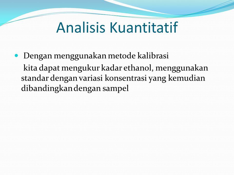 Analisis Kuantitatif Dengan menggunakan metode kalibrasi kita dapat mengukur kadar ethanol, menggunakan standar dengan variasi konsentrasi yang kemudian dibandingkan dengan sampel