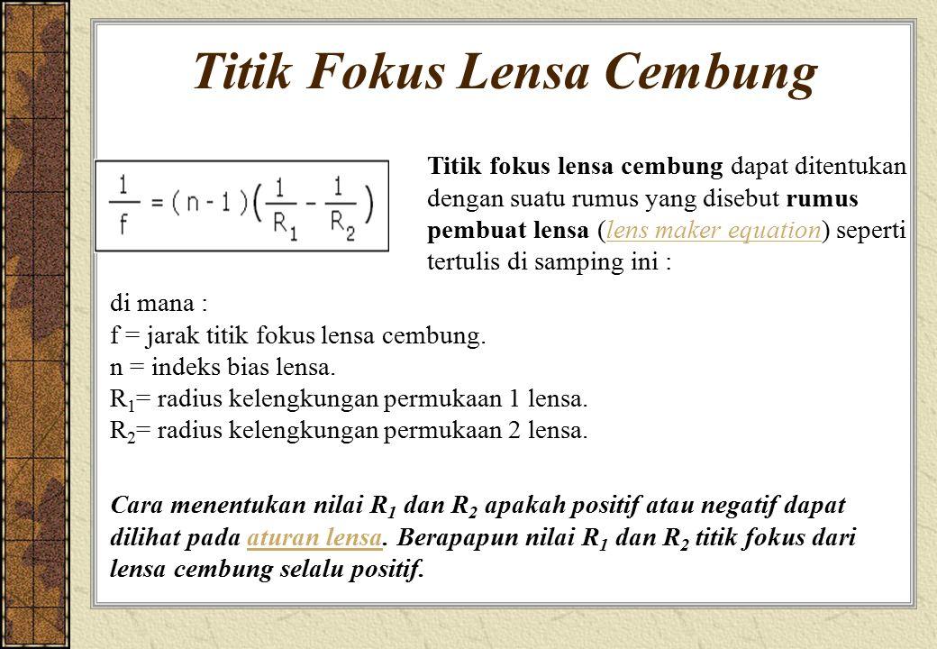 Titik Fokus Lensa Cembung Titik fokus lensa cembung dapat ditentukan dengan suatu rumus yang disebut rumus pembuat lensa (lens maker equation) seperti