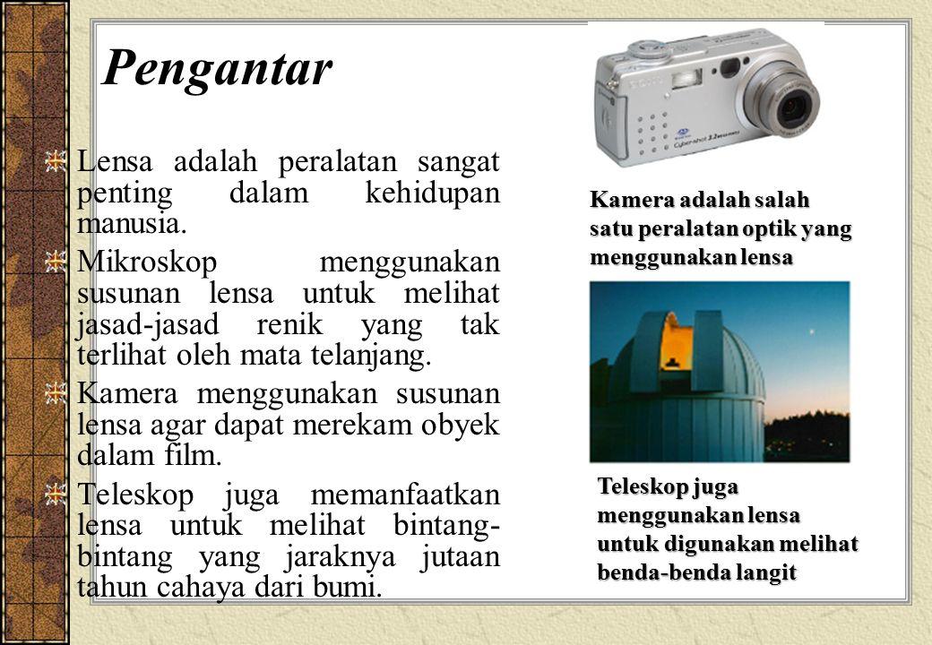 Pengantar Lensa adalah peralatan sangat penting dalam kehidupan manusia. Mikroskop menggunakan susunan lensa untuk melihat jasad-jasad renik yang tak