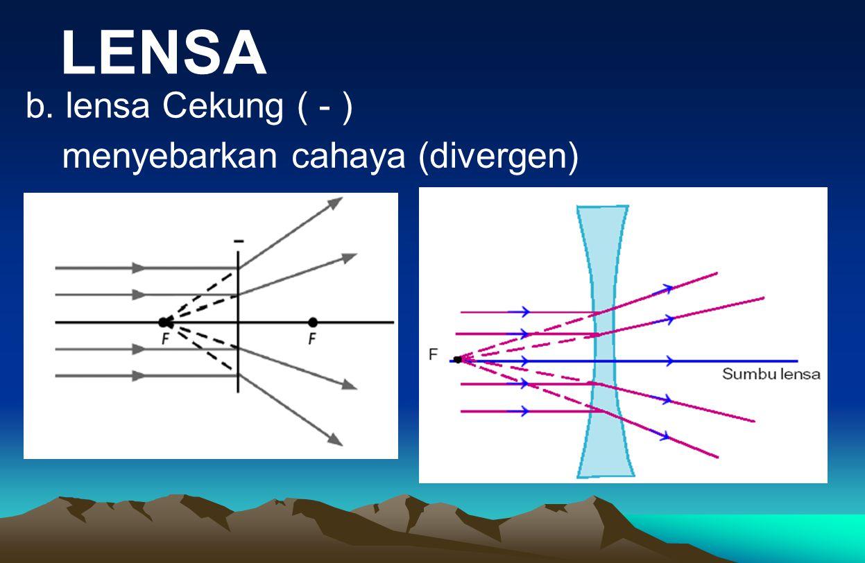 LENSA b. lensa Cekung ( - ) menyebarkan cahaya (divergen)