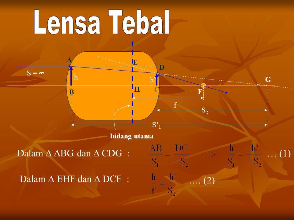 h h' B A C D G f bidang utama S =  F Dalam  ABG dan  CDG : S2S2 S' 1 E H Dalam  EHF dan  DCF : …. (2) … (1)