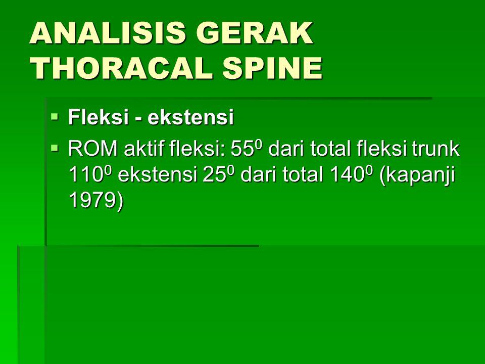 ANALISIS GERAK THORACAL SPINE  Fleksi - ekstensi  ROM aktif fleksi: 55 0 dari total fleksi trunk 110 0 ekstensi 25 0 dari total 140 0 (kapanji 1979)