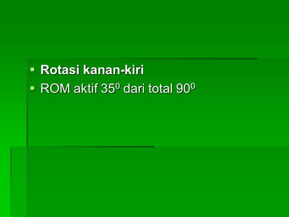  Rotasi kanan-kiri  ROM aktif 35 0 dari total 90 0