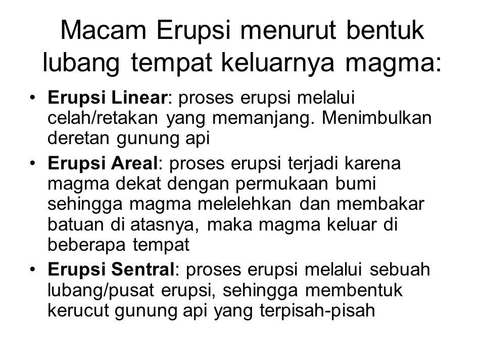 Macam erupsi berdasarkan kekuatan letusannya: Erupsi Efusif : proses erupsi berupa lelehan lava dan lahar. Terjadi jika magma relatif encer Erupsi Eks