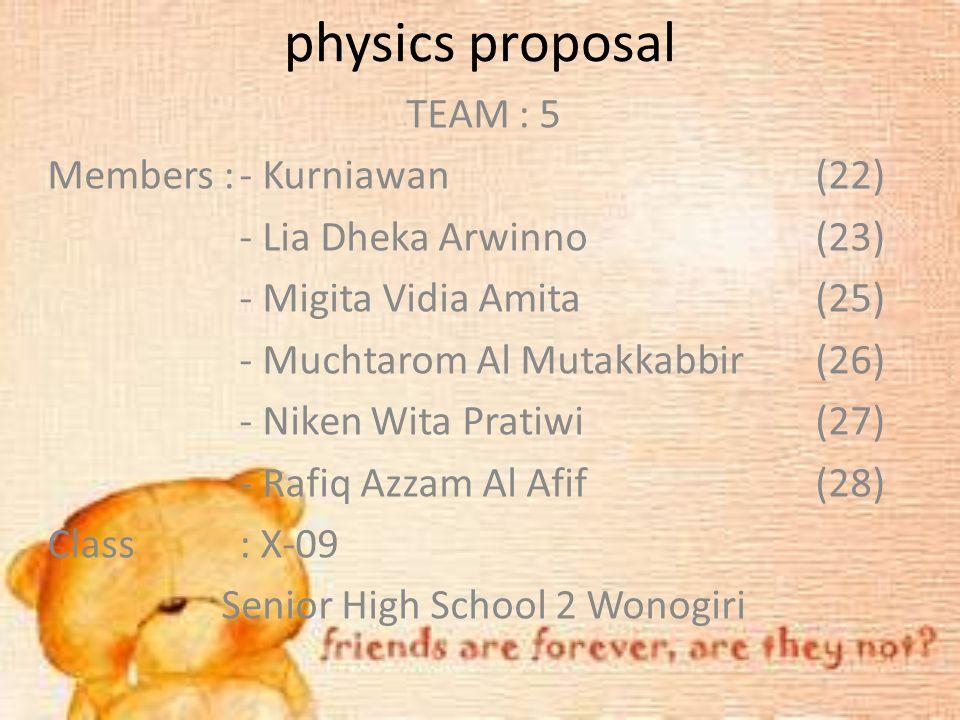 physics proposal TEAM : 5 Members :- Kurniawan(22) - Lia Dheka Arwinno(23) - Migita Vidia Amita(25) - Muchtarom Al Mutakkabbir(26) - Niken Wita Pratiw