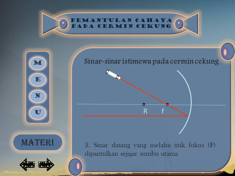 PEMANTULAN CAHAYA PADA CERMIN CEKUNG Sinar-sinar istimewa pada cermin cekung 2. Sinar datang yang melalui titik fokus (F) dipantulkan sejajar sumbu ut