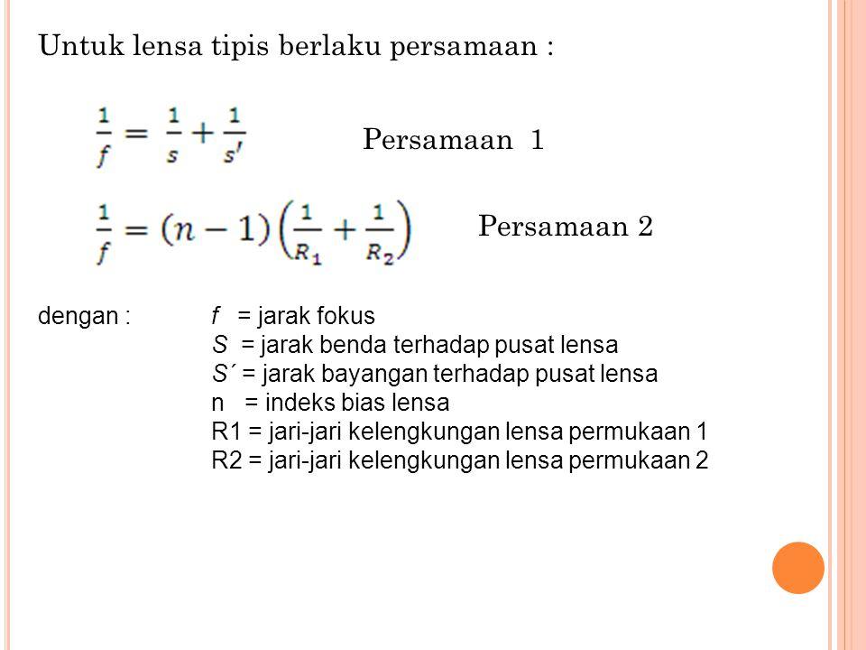 Untuk lensa tipis berlaku persamaan : dengan :f = jarak fokus S = jarak benda terhadap pusat lensa S´ = jarak bayangan terhadap pusat lensa n = indeks