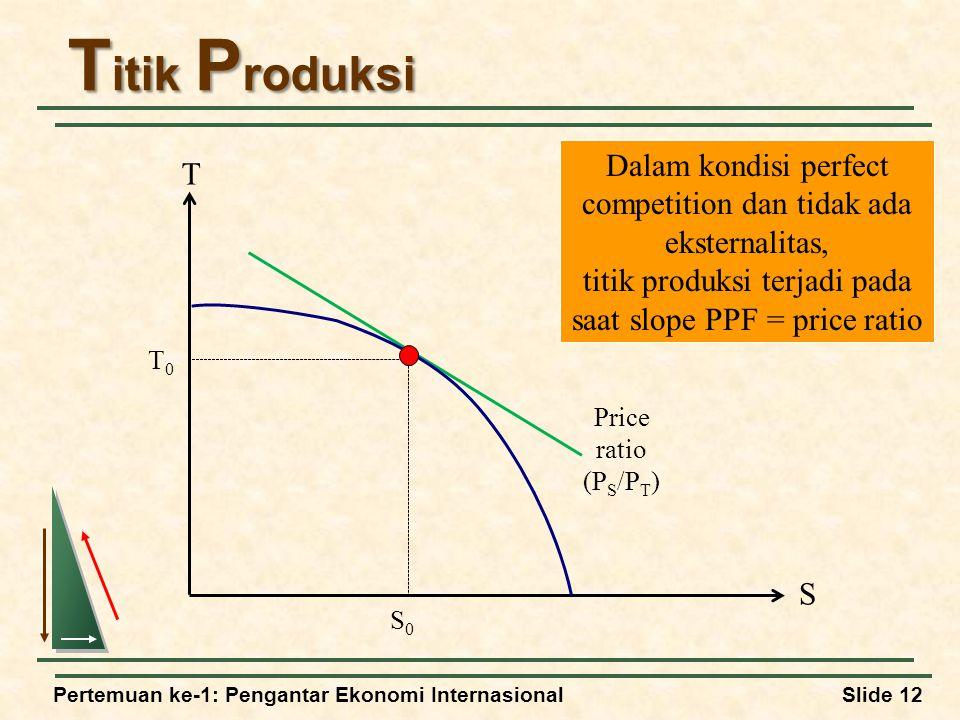 Pertemuan ke-1: Pengantar Ekonomi InternasionalSlide 12 T itik P roduksi Dalam kondisi perfect competition dan tidak ada eksternalitas, titik produksi terjadi pada saat slope PPF = price ratio T S T0T0 S0S0 Price ratio (P S /P T )