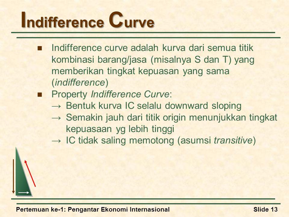 Pertemuan ke-1: Pengantar Ekonomi InternasionalSlide 13 I ndifference C urve Indifference curve adalah kurva dari semua titik kombinasi barang/jasa (misalnya S dan T) yang memberikan tingkat kepuasan yang sama (indifference) Property Indifference Curve: →Bentuk kurva IC selalu downward sloping →Semakin jauh dari titik origin menunjukkan tingkat kepuasaan yg lebih tinggi →IC tidak saling memotong (asumsi transitive)