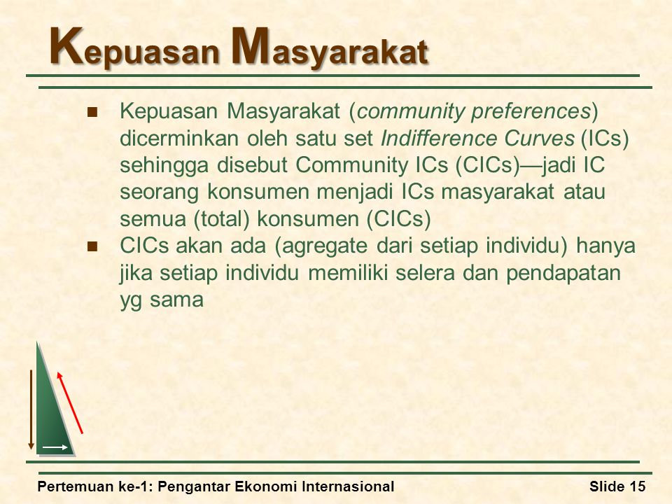 Pertemuan ke-1: Pengantar Ekonomi InternasionalSlide 15 K epuasan M asyarakat Kepuasan Masyarakat (community preferences) dicerminkan oleh satu set Indifference Curves (ICs) sehingga disebut Community ICs (CICs)—jadi IC seorang konsumen menjadi ICs masyarakat atau semua (total) konsumen (CICs) CICs akan ada (agregate dari setiap individu) hanya jika setiap individu memiliki selera dan pendapatan yg sama